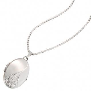 Medaillon oval 585 Gold Weißgold mattiert 3 Diamanten Anhänger zum Öffnen - Vorschau 4