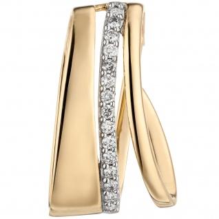 Anhänger 585 Gold Gelbgold 15 Diamanten Brillanten Diamantanhänger