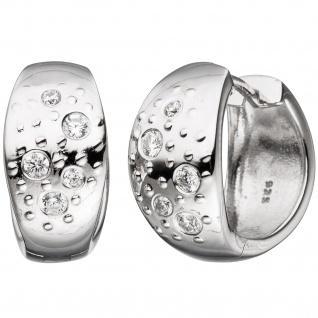 Creolen breit 925 Silber mit Zirkonia Ohrringe Silberohrringe Silbercreolen