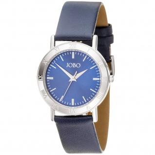 JOBO Herren Armbanduhr Quarz Analog Edelstahl Lederarmband blau