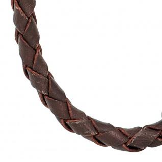 Leder Halskette Kette Schnur braun 45 cm Karabiner 925 Sterling Silber - Vorschau 2