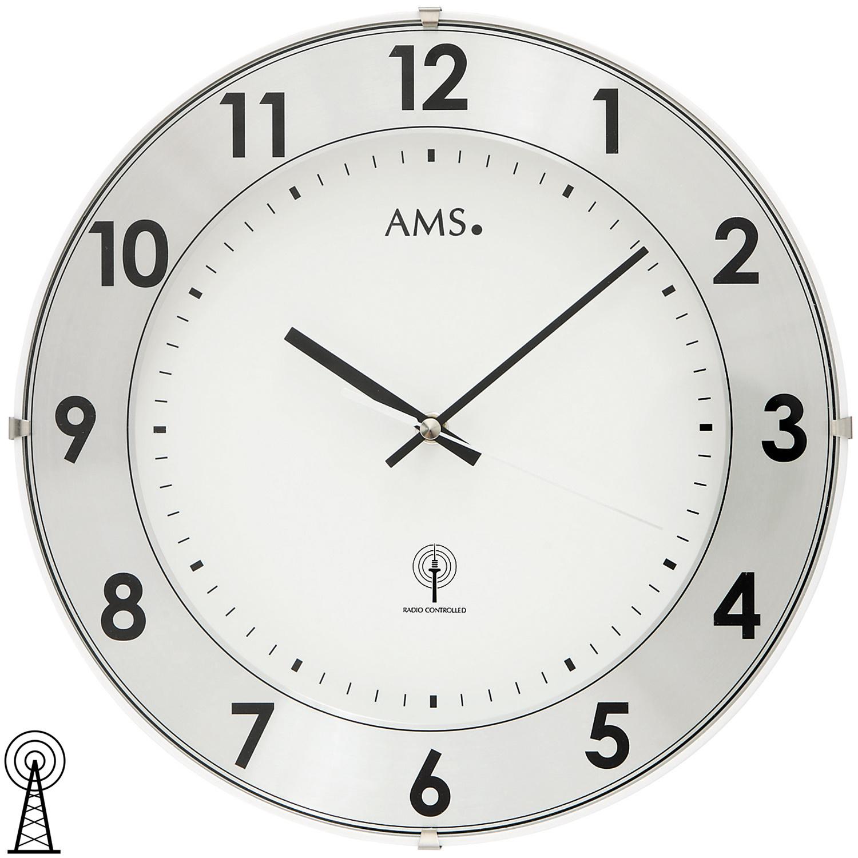 AMS 5948 Wanduhr Funk Funkwanduhr analog weiß rund mit Aluminium-Ring
