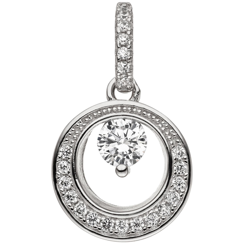 Anhänger 925 Sterling Silber 23 Zirkonia Silberanhänger rund ... e4dd224d47