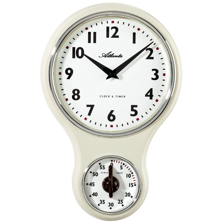 Atlanta 6124/0 Küchenuhr Wanduhr Küche Quarz analog beige Kurzzeitmesser  Timer
