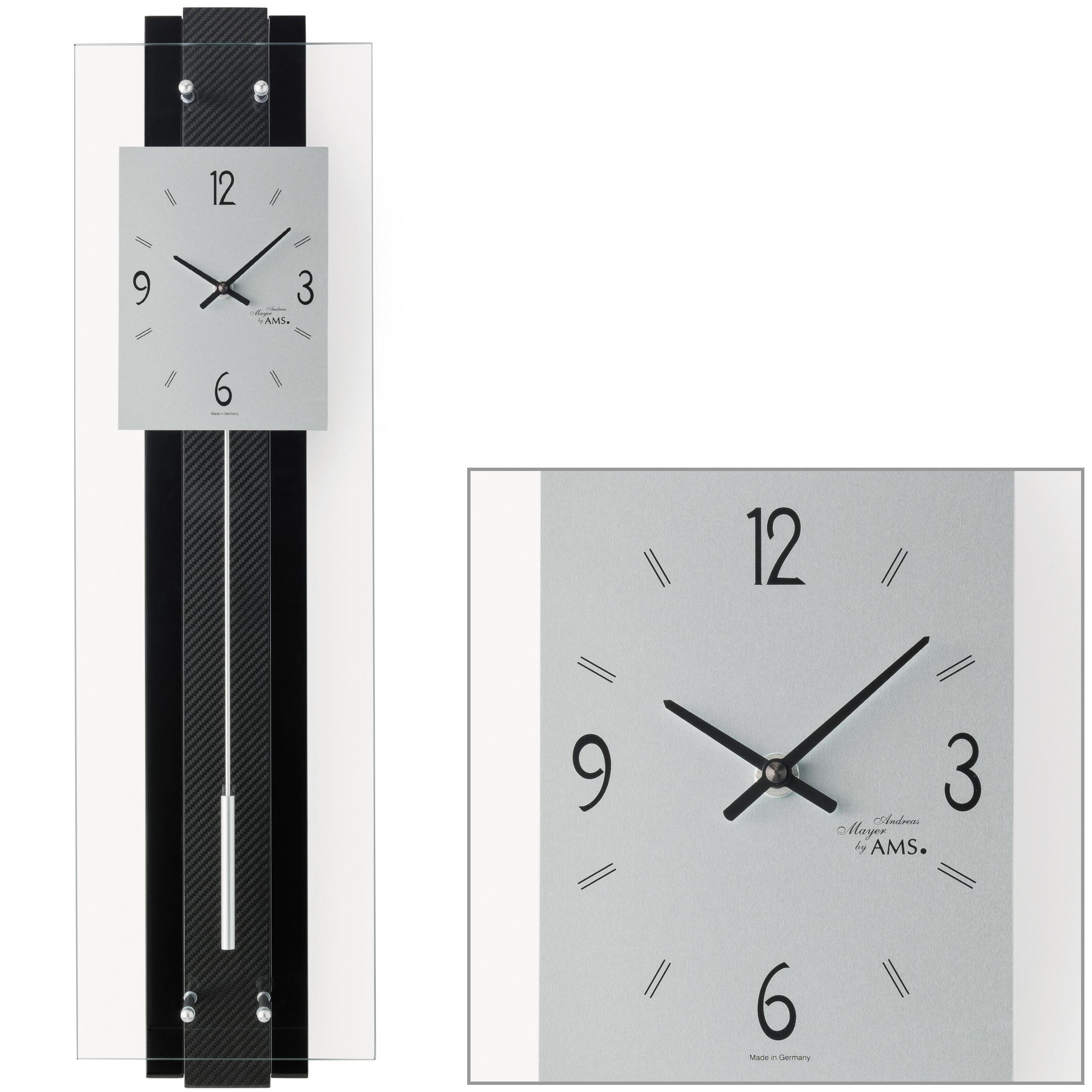 ams 7394 wanduhr quarz mit pendel schwarz modern pendeluhr. Black Bedroom Furniture Sets. Home Design Ideas