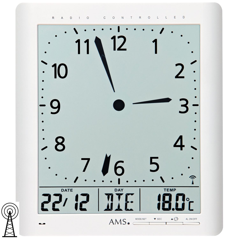 Weckfunktion Ams Weiß Tischuhr 5896 Digital Thermometer Wanduhr Datum Funk nOk0P8w