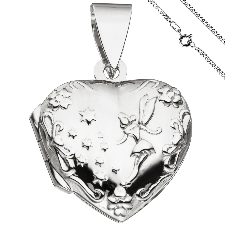 Medaillon Herz Anhänger zum Öffnen für 2 Fotos 925 Silber mit Kette 50 cm 1  ... e7d603b76f