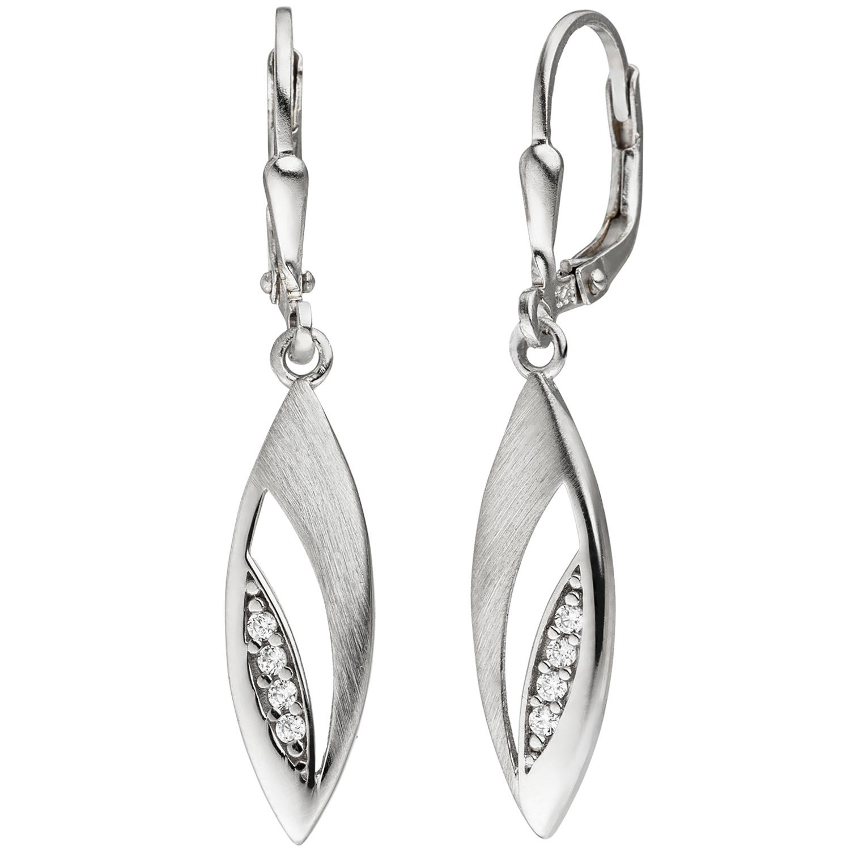 Damen Ohrringe Ohrhänger Boutons Silberohrringe aus 925 Sterling Silber Zirkonia