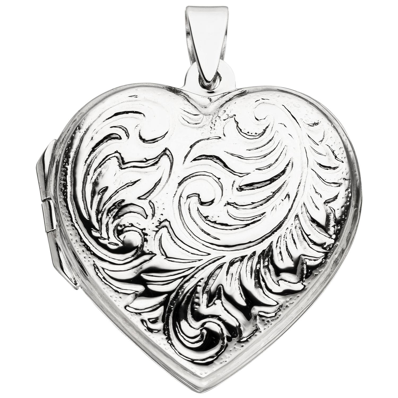 Medaillon für 2 Fotos Anhänger Herz mit Marienkäfer zum Öffnen 925 Silber
