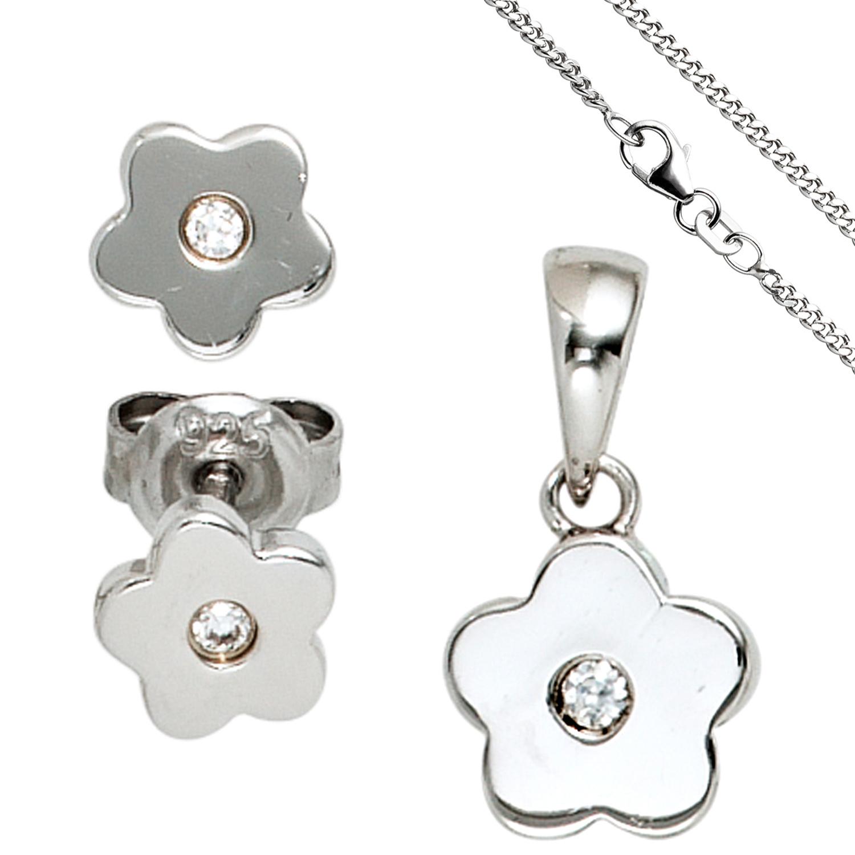 84515af617 Kinder Schmuck-Set Blume 925 Silber mit Zirkonia Anhänger Ohrringe Kette 38  cm 1 ...