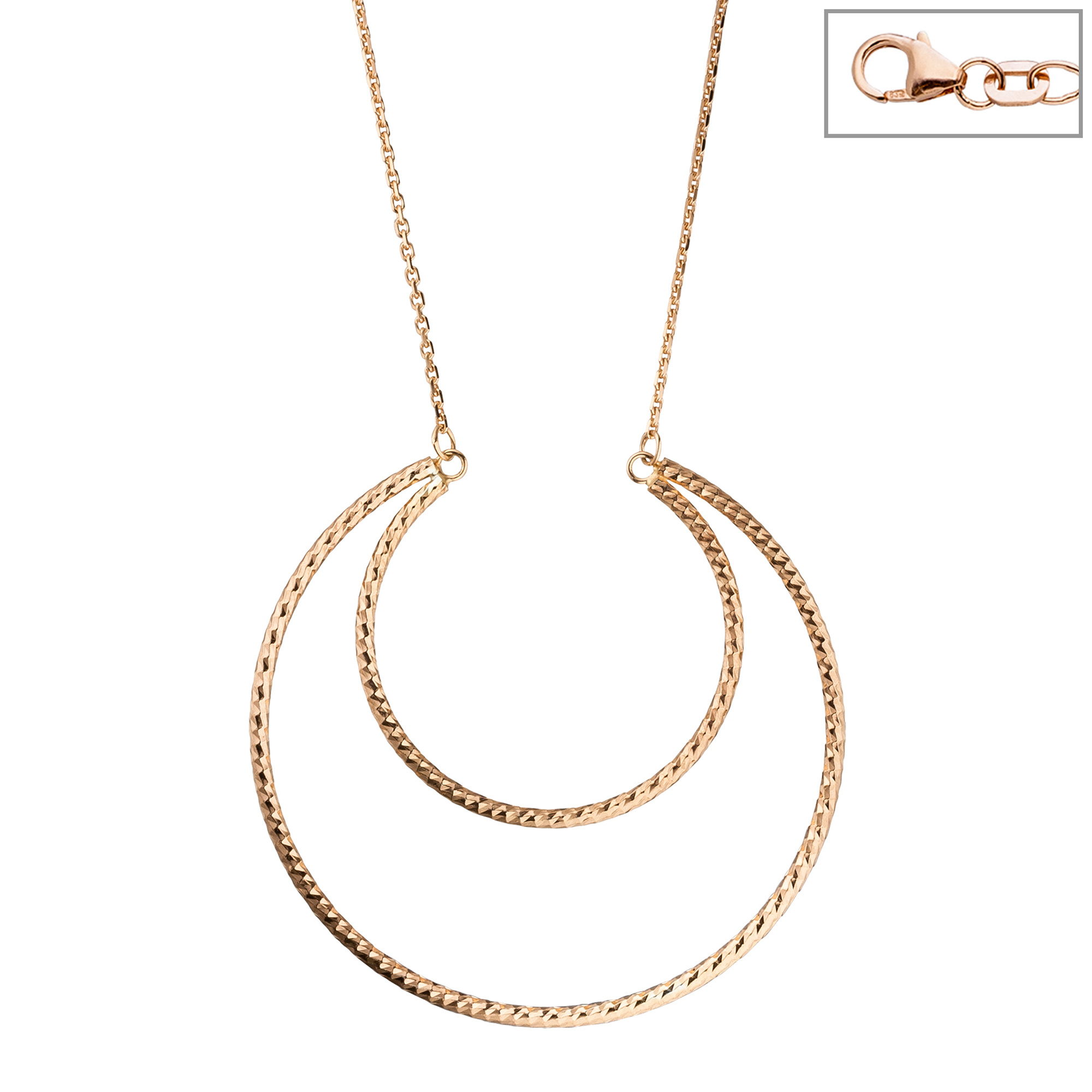 Collier Halskette 925 Sterling Silber rotgold vergoldet 46 cm Kette 1 ... e520b399a4