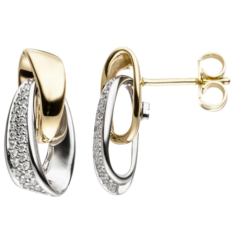 4e0a043b892c1f Ohrstecker 585 Gold Weißgold Gelbgold bicolor 48 Diamanten Brillanten  Ohrringe