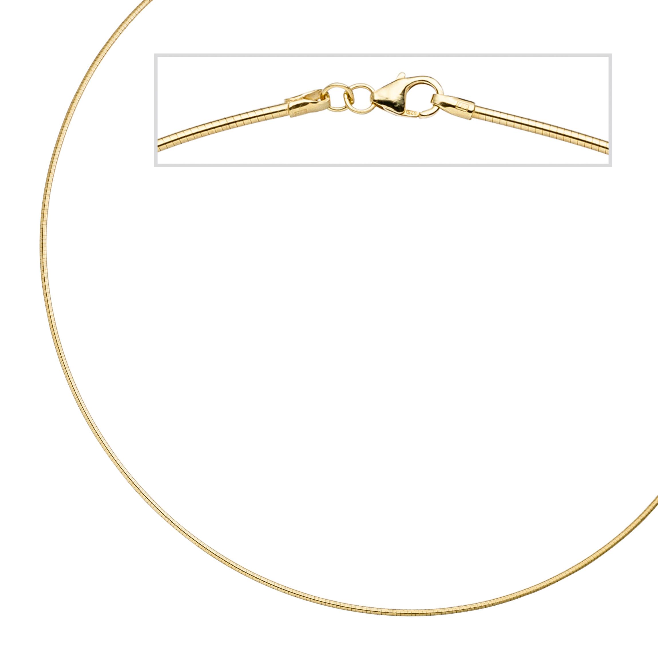 Halsreif 925 Sterling Silber gold vergoldet 1,1 mm 45 cm Kette Halskette