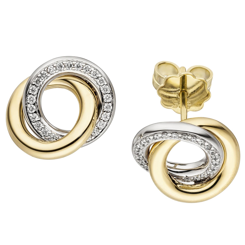 8de386d7738b86 Ohrstecker 585 Gold Gelbgold Weißgold bicolor 48 Diamanten Brillanten  Ohrringe