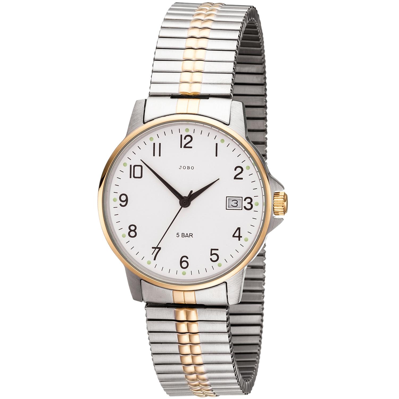 Armbanduhr Bicolor Edelstahl Quarz Jobo Vergoldet Flexband Datum Herren Analog Nnwy8m0Ov