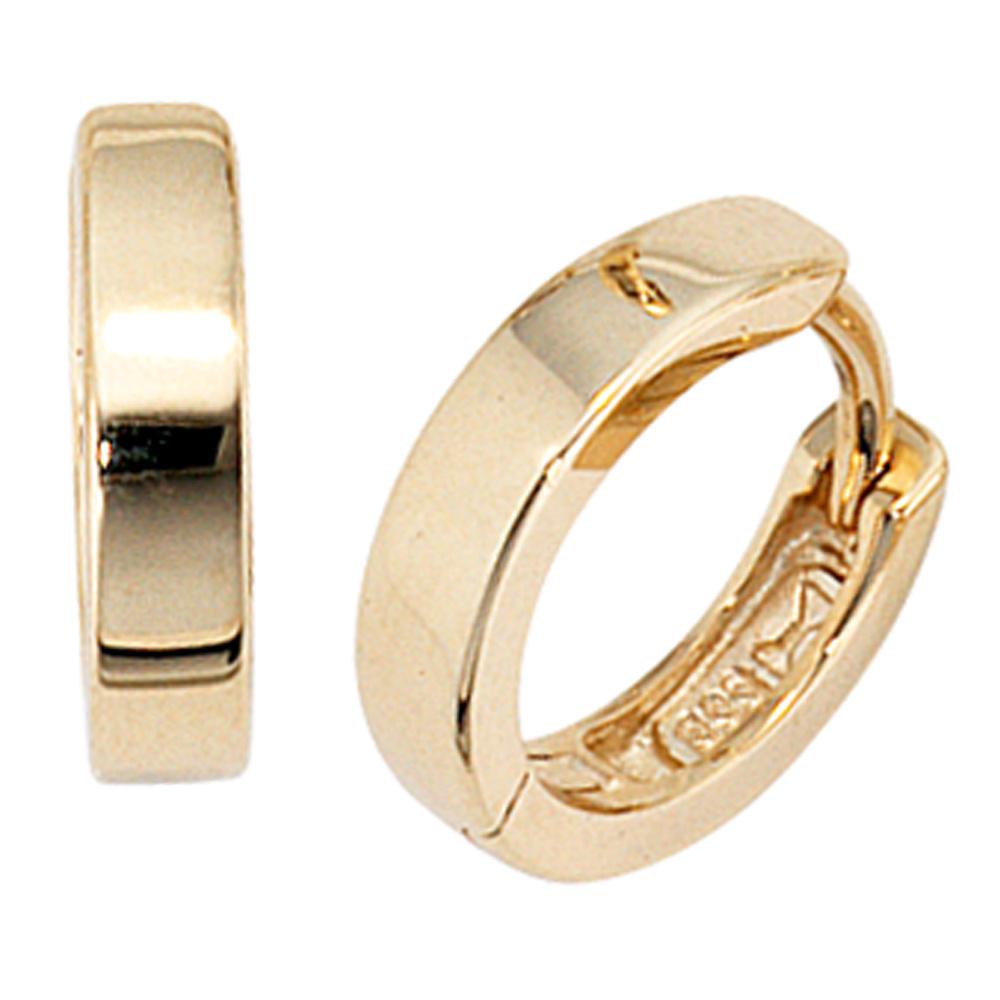 Damen Creolen rund breit 333 Gold Gelbgold Ohrringe Goldohrringe Goldcreolen