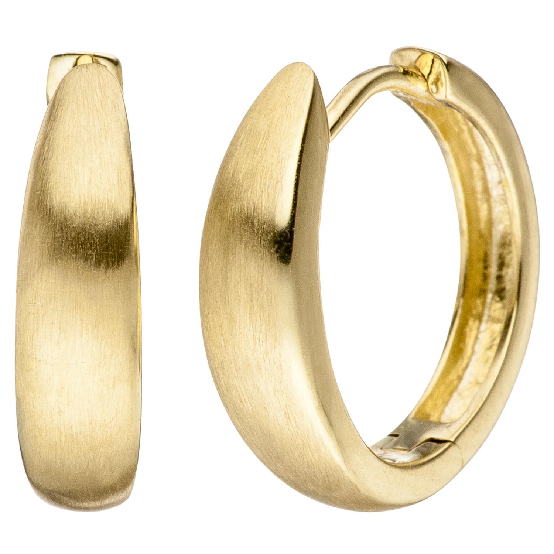Klappmechanik 333 Gold Gelbgold Paar Creolen Creole Ohrringe Damen 13.7mm