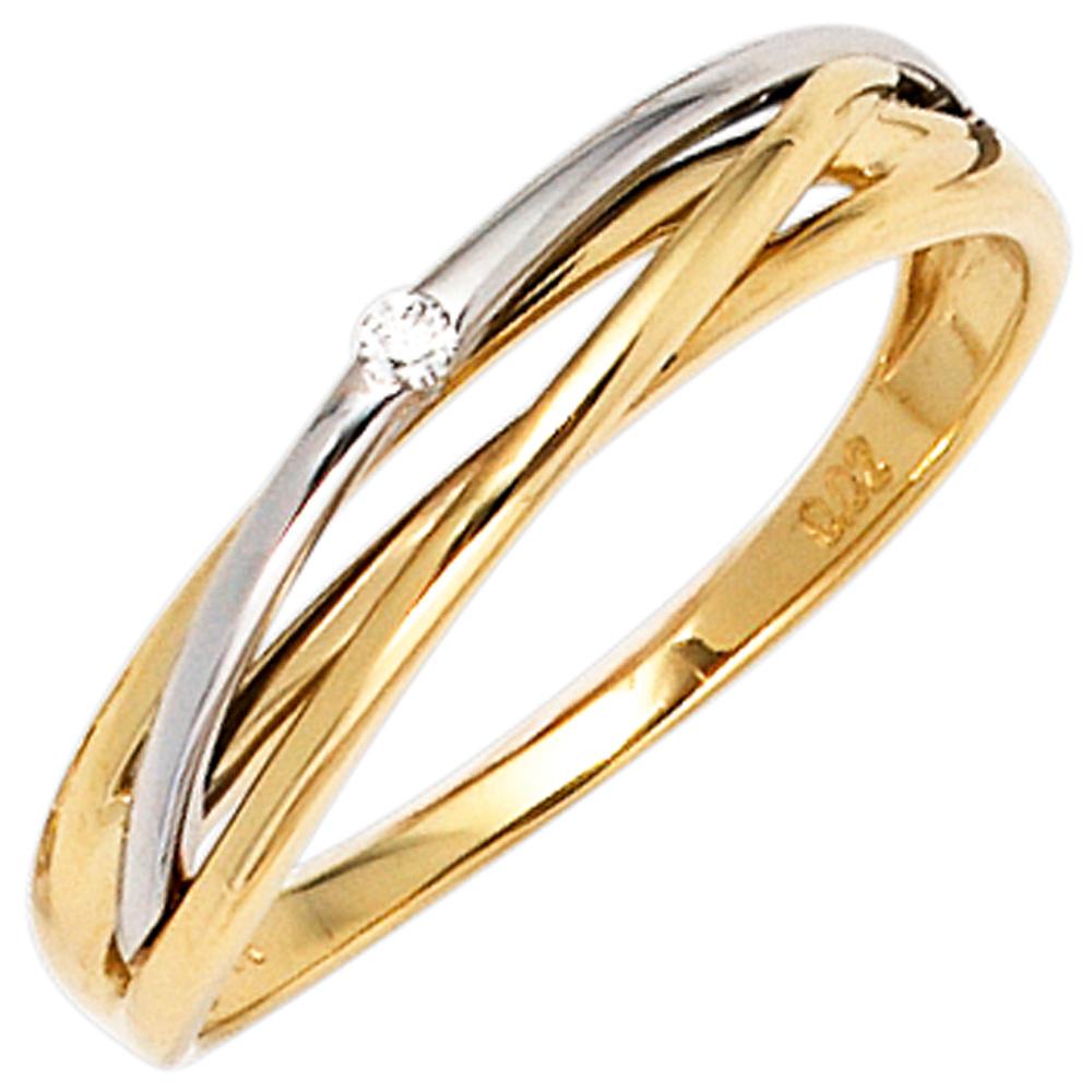 Ring Goldring Kugelring mit Diamant Brillant 0,02 Ct Solitär 585 Gold Weißgold