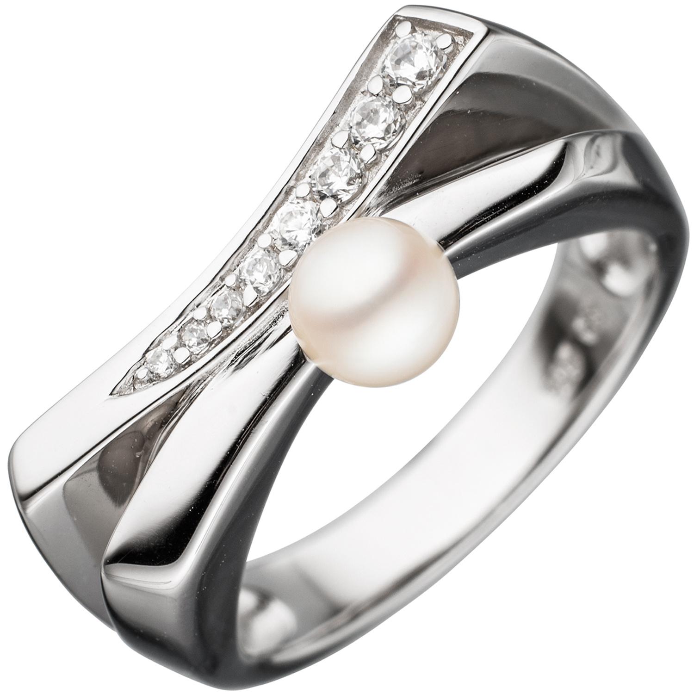 Damen Ring breit 925 Silber rhodiniert 1 Süßwasser Perle 31 Zirkonia Perlenring