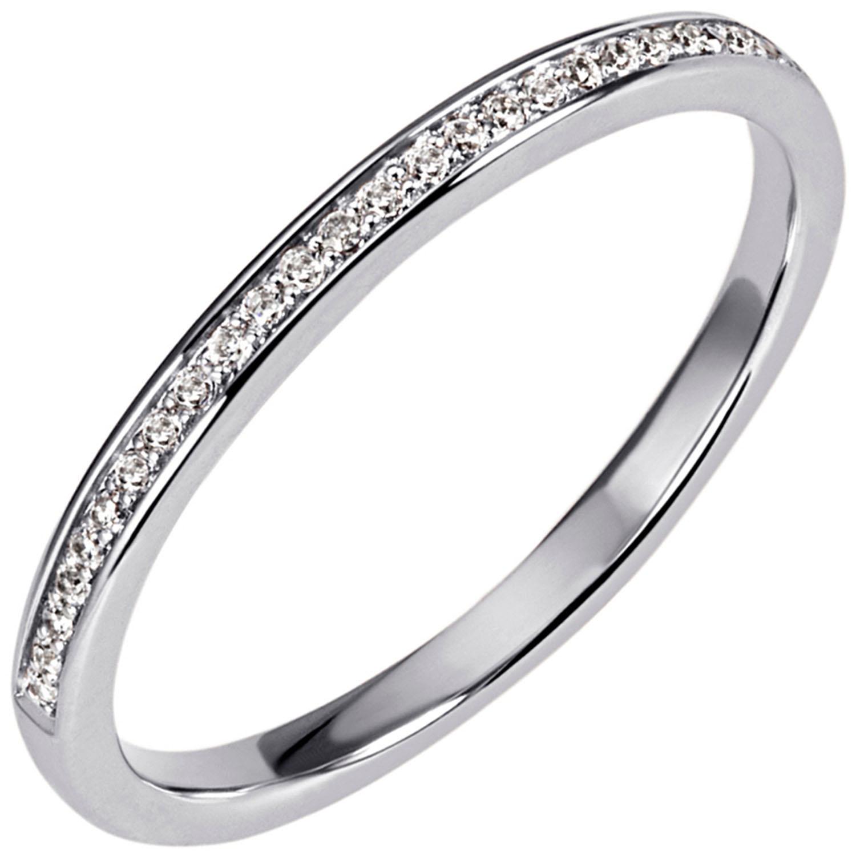 Damen Ring 585 Gold Weißgold 5 Diamanten Brillanten Weißgoldring