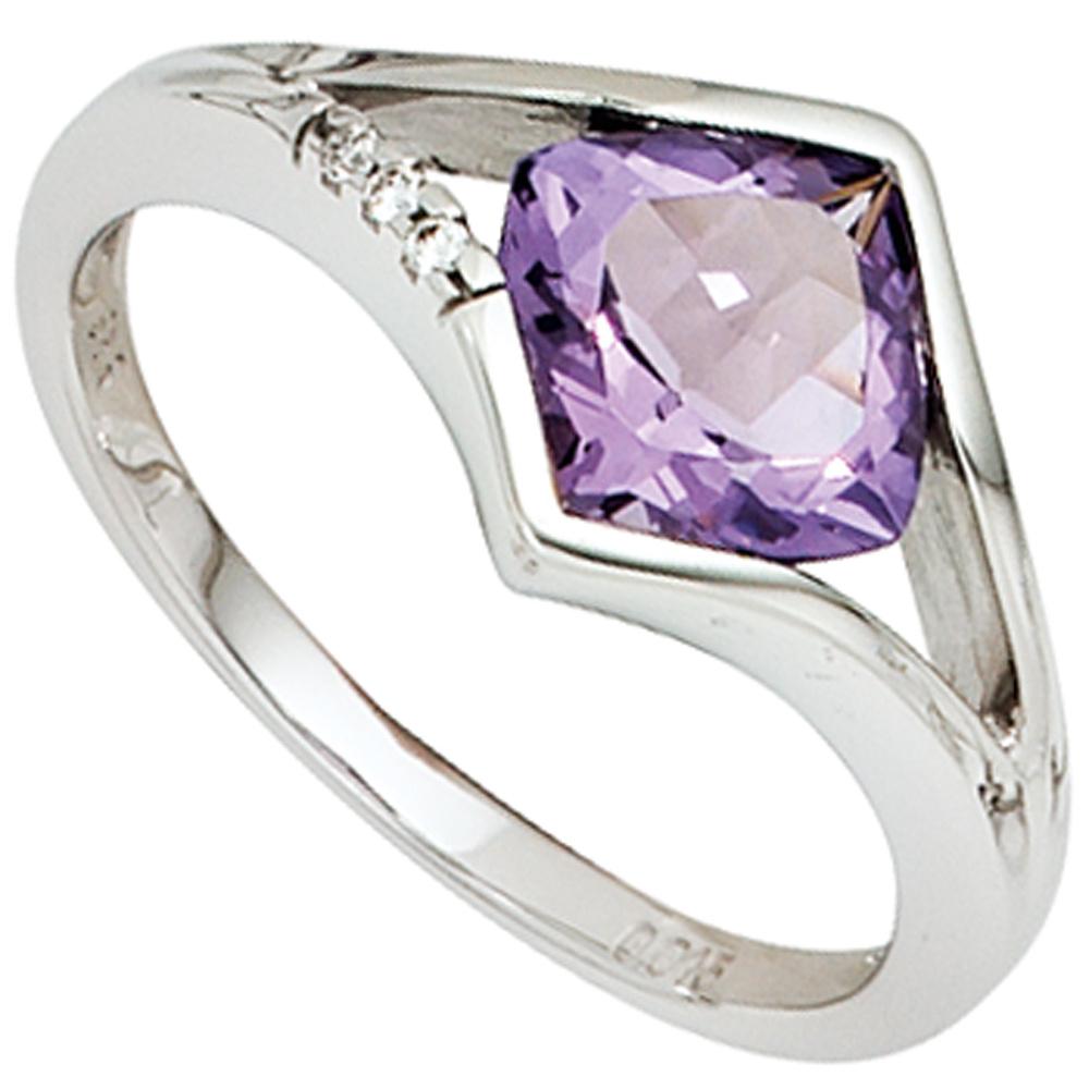 Wandfarbe Violett Lila Kolorat Eine Auswahl In Lila: Damen Ring 585 Gold Weißgold 3 Diamanten Brillanten 1