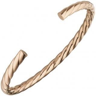 Armspange / offener Armreif 925 Silber rotgold vergoldet Armband oval