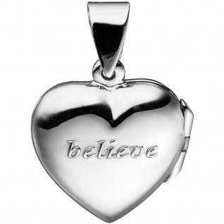Medaillon Herz für 2 Fotos 925 Sterling Silber Anhänger zum Öffnen - Vorschau 5