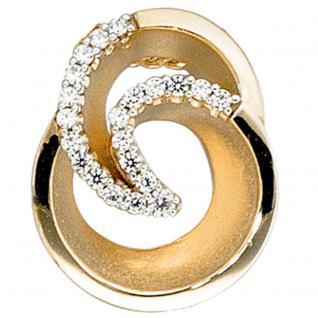Anhänger 585 Gold Gelbgold matt 21 Diamanten Brillanten Diamantanhänger