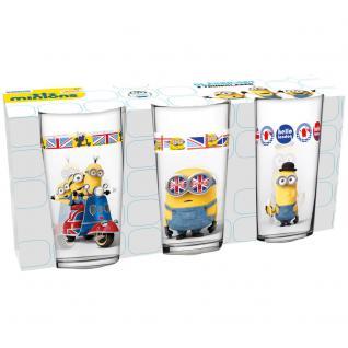 MINIONS Kinder Gläser-Set, 3 verschiedene Gläser 290ml im Geschenkkarton