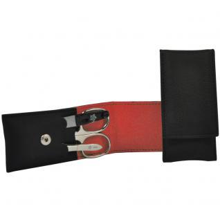 Pfeilring Maniküretui VEGAN schwarz rot 3-teilige Bestückung Maniküre Set