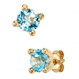 Ohrstecker rund 333 Gold Gelbgold 2 Blautopase hellblau blau Ohrringe