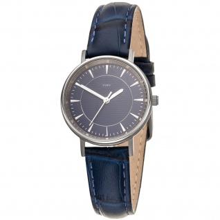 JOBO Damen Armbanduhr Quarz Analog Titan Lederband blau Damenuhr