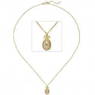 Collier Kette mit Anhänger Ananas 925 Silber gold vergoldet 18 Zirkonia 45 cm