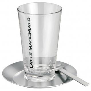 Blomus Latte Macchiato Set CONO 1 Glas mit 1 Teller und 1 Löffel Edelstahl matt