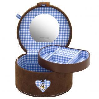 Friedrich Lederwaren Schmuckkoffer Schmuckkasten BAVARIA blau braun rund Spiegel