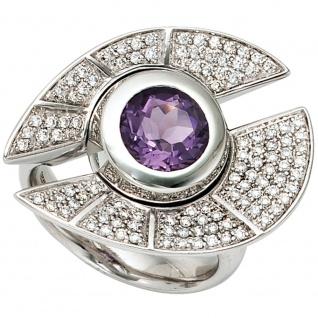 Damen Ring 585 Gold Weißgold 109 Diamanten Brillanten 1 Amethyst lila violett