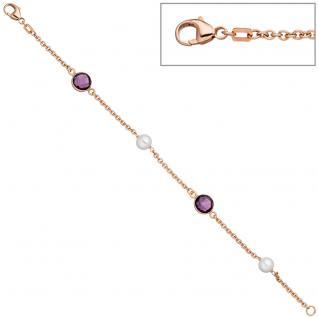 Armband 925 Silber rotgold vergoldet 2 Süßwasser Perlen 2 Quarze lila 19 cm