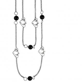 Collier Halskette 2-reihig aus Edelstahl mit schwarzem Achat 55 cm Kette - Vorschau 2