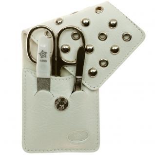 Pfeilring Taschen-Maniküretui, Nappaleder, weiß, 3-teilige Bestückung
