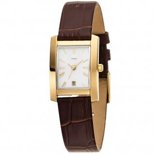 JOBO Damen Armbanduhr Quarz Analog Edelstahl vergoldet Lederband braun Datum