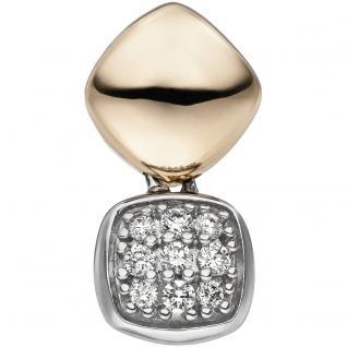 Anhänger 585 Gold Gelbgold Weißgold bicolor 9 Diamanten Brillanten