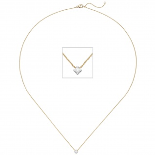 Collier 750 Gold Gelbgold Weißgold bicolor 1 Diamant Brillant 45 cm Goldkette