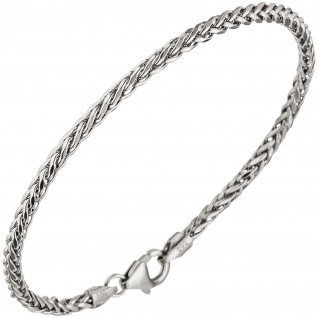 Zopfarmband 585 Gold Weißgold 19 cm Armband Karabiner Weißgoldarmband