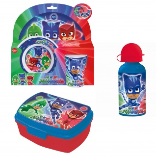 PJ MASKS Frühstücks-Set für Kinder Kindergeschirr Trinkflasche Brotdose