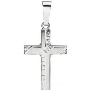 Anhänger Kreuz 925 Silber matt gehämmert Kreuzanhänger Silberkreuz
