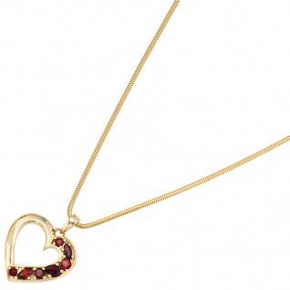 Anhänger Herz 585 Gold Gelbgold 7 Granate rot Herzanhänger Granatanhänger - Vorschau 5