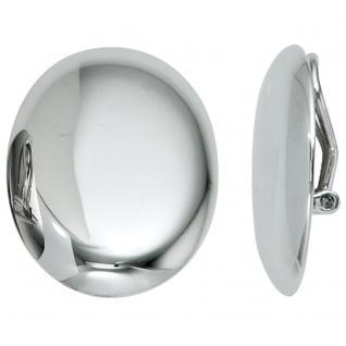 Ohrclips oval 925 Sterling Silber rhodiniert Ohrringe Clips