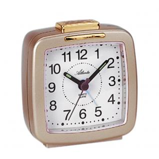Atlanta 1380/9 Wecker Quarz analog golden mit Licht Snooze