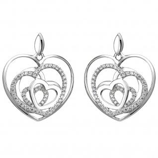 Ohrhänger Herzen 925 Silber 114 Zirkonia Ohrringe