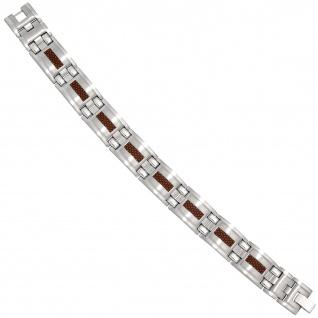 Armband Edelstahl mit braunen Carbon Einlagen 21 cm Klappverschluss